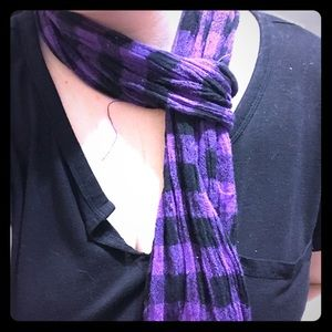 Purple Plaid 100% Rayon Fashion Scarf